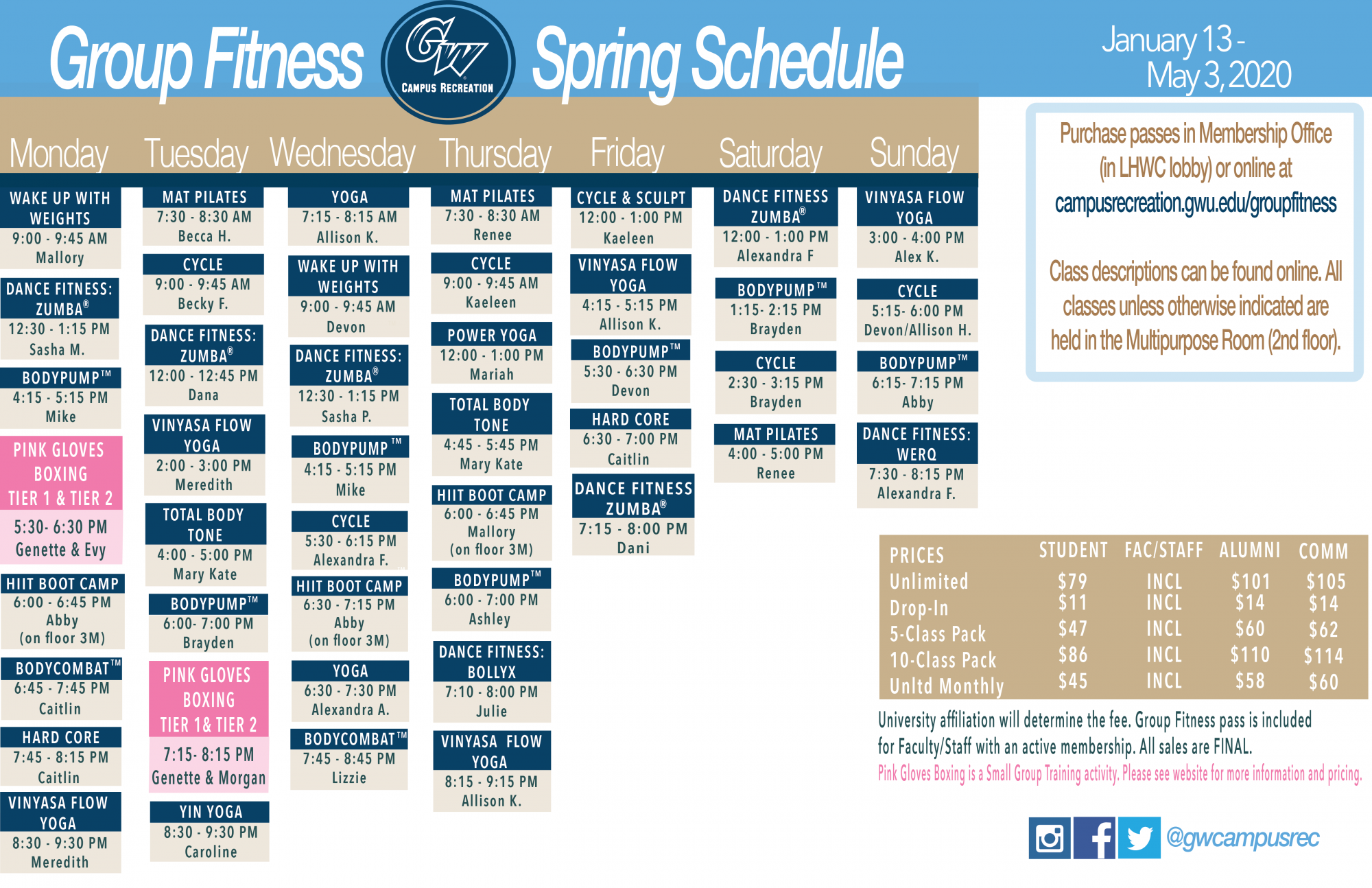 spring 2020 group fit schedule