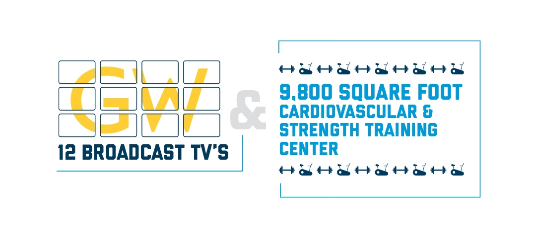 12 broadcast TVs | 9,800 sq foot cardiovascular and strength training center/weight room